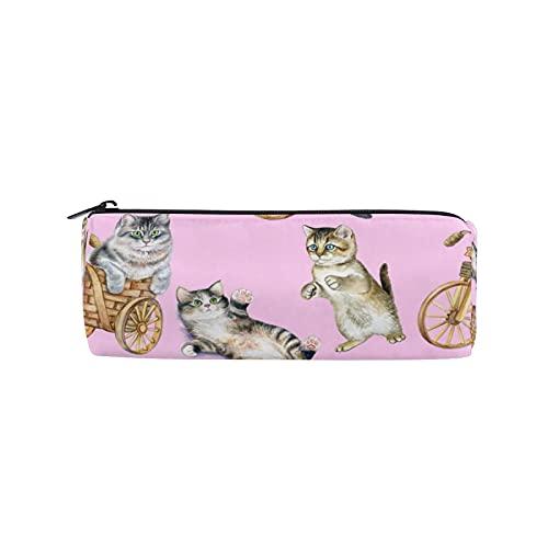 JNlover - Estuche para lápices, diseño de gato y gato, redondo, para adolescentes, niños, oficina