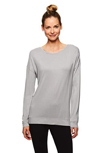 Gaiam Damen Langarmshirt Yoga & Workout T-Shirt – Activewear Top mit offenem Rücken - Grau - Groß