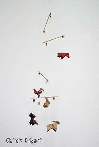 Nutztiere Origami Mobile/Hund, Schwein, Hahn, Kaninchen, Ziege/mit Kraft Papier/Einzigartig/Geschenk