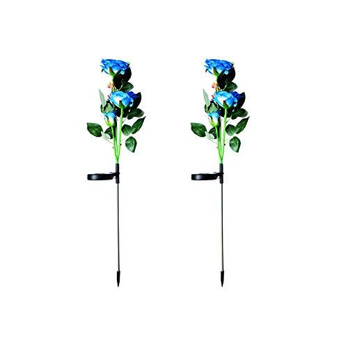 Luces solares de jardín para exteriores, 2 paquetes de lámparas solares con 6 rosas de flores, resistentes al agua, luces decorativas para jardín, patio, yard pathway decoración de Navidad (azul)
