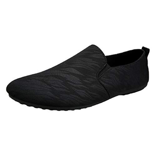 DAIFINEY Herren Mokassin Slipper Schlüpfschuh Slip-on modisch Freizeitschuh Klassisch Penny Loafers Gemütlich Handgefertigt Halbschuhe,mit verbreiterter Auftrittsfläche(Schwarz/Black,41)