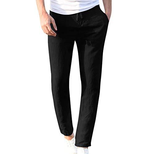 Honestyi Art und Weisemänner beiläufige Arbeits Baumwollmischung Reine elastische Taillen Lange Hosen Hose Lässige einfarbige Herrenhose aus Leinenimitat