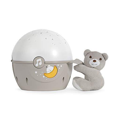 Chicco Next2Stars Nachtlicht Baby Sternenhimmel Projektor mit Plüschtier - Sternenlicht Projektor für Babybettchen, Nachtlicht mit Soundsensor, 3 Lichteffekte und Musik - 0+ Monate, Beige