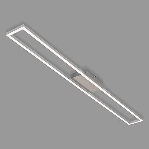 Briloner Leuchten - LED Deckenleuchte, Deckenlampe dimmbar, inkl. Memoryfunktion, 20 Watt, 1.800 Lumen, 3.000 Kelvin, Matt-Nickel-Alu, 1.100x120x50mm (LxBxH), 3094-012