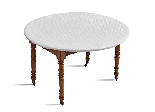 DClic - Protège Table Elastiqué Blanc- rond pour une table de 95 à 108Cm de diametre - fabriqué en France