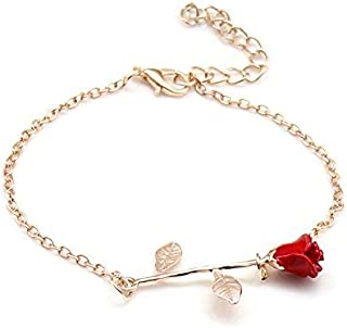 choice of all 3D Rose Bracelet,Charm Gold Silver Personalized Rose Pendant Bracelet for Women Girls
