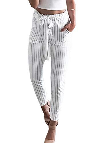 HX fashion Chino-Broek Dames Lente Elegant Mode Comfortabele Maten Broek Krijtstreep Strik Zijzakken Slim Fit Middelhoge Taille Met Riem 7/8 Broek Casual Comfortabele Broek Moderne Stijl Jonge Mode
