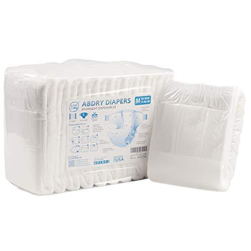 Littleforbig Adult Diaper 10 Pieces - ABDry White Diapers (Medium 28'-38')