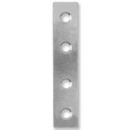 Merriway BH00221 Straight Zinc Plated Repair Plate Bracket Brace, 125 mm (5 inch) - Pack of 12