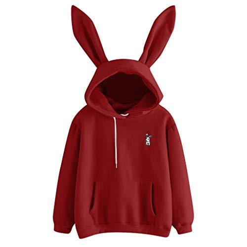 showsing-vrouwen kleding Womens Hoodie Sweatshirt - Lange mouwen Bunny Hoodie Sweatshirt Pullover Tops - Meisjes Leuke Blouse