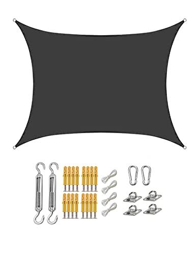 gfdfrg Toldo Exterior Vela de Sombra Rectangular,protección 90% Rayos UV Impermeable Toldo de Vela con Kit de Fijación para Patio al Aire Libre, Jardín,Negro