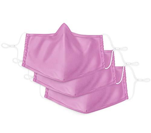 Stoffmaske Mund-Nasen-Schutz 3 er Set - 60 Grad waschbar - Behelfsmaske Erwachsenengröße - wiederverwendbar MNS - 2lagig Baumwolle (Rosa)