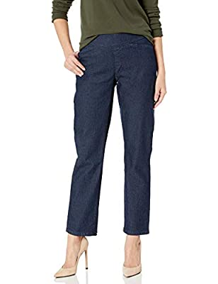 Wrangler Authentics Women's Easy-Fit Elastic-Waist Pant, Dark Shade, 10 Petite