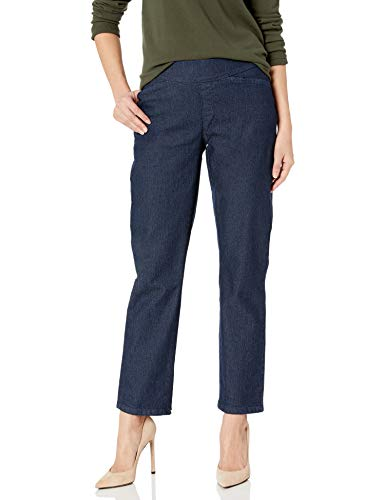 Chic Classic Collection Women's Easy-Fit Elastic-Waist Pant, Dark Shade, 18