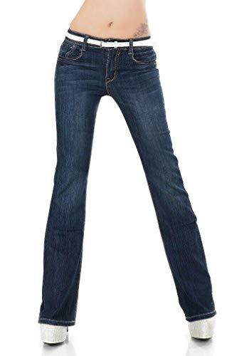 SIMPLY CHIC Femmes Boot Cut Jeans Stretch Denim Pantalon Bleu Foncé Délavé 8-16 - Bleu - 36