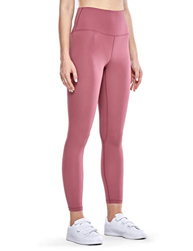 CRZ YOGA Women's Matte High Waisted Yoga Pants Tummy Control Workout Leggings -25 Inches Misty Merlot - 25'' Small