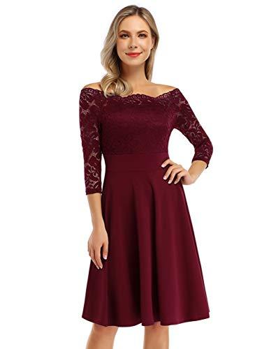 KOJOOIN Damen 1950er Vintage Brautjungfernkleider für Hochzeit Kurzes A-Linie Abendkleider, Weinrot (Off Schulter)-langarm, Gr.- XL/46