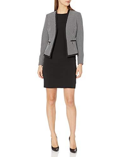 Le Suit Women's Petite Check Plaid Jacket with Zipper Pockets Dress Suit, Black/White, 8P