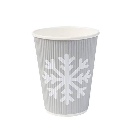 BIOZOYG umweltfreundliche Bio to Go Kaffeebecher im attraktiven Winterdesign I Coffee to Go Riffelbecher 300 ml / 12 oz grau I 25 Glühwein Einwegbecher kompostierbar