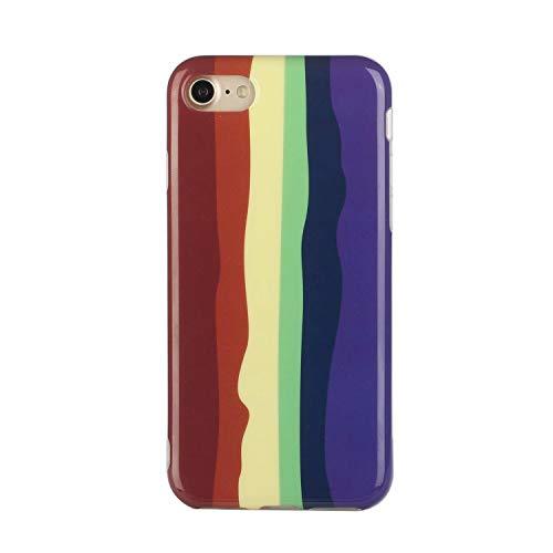 Miagon Bunt Kunst Regenbogen Hülle für iPhone SE 2020,Ultra Dünn Silikon TPU Schutzhülle Handyhülle Weiche Stoßfest Anti-Scratch Cover,Braun Lila