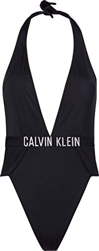 Calvin Klein Plunge One Piece-RP Parte Superior de Bikini, Pvh Negro, S para Mujer
