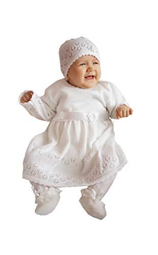 deine-Brautmode Babykleid Taufkleid Strickkleid Festkleid Baby Taufe Kleid gestrickt, ELSA 74