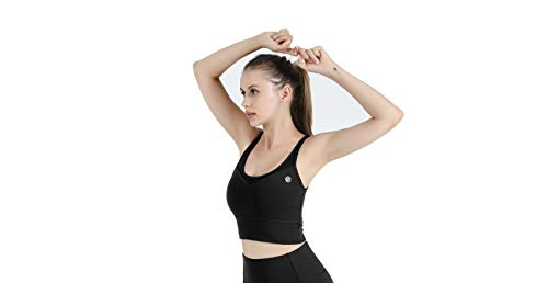 Lazy dancer Sports Bras for Women, High Support Mesh Back Straps Yoga Bra, Running Sport Bra, Womens Workout Tank, Black Medium