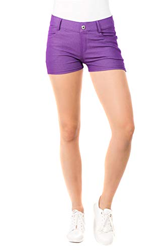 Yelete Fashion Mic Womens Casual Summer Cotton Blend Stretchy Shorts (M, Purple)