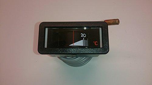 Termómetro de caldera de 58 mm x 25 mm, posición de montaje horizontal, rango de visualización 0 – 120 °C con cable capilar de 1500 mm.