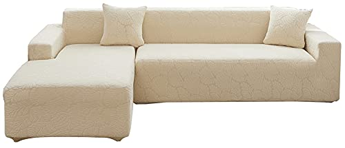 NOPEXTO Funda para Sofá Chaise Longue, Funda para Sofa En Forma L,Cubre Sofá Chaise Longues Universal Antideslizante (3 Plazas,Beige)