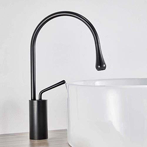 Grifo de Agua Fregadero de Grifo de baño Giratorio de 360 ° Negro for Cocina y baño bañera de Cascada Alta, Lavabo de baño, Mezclador de Lavabo Monomando, Mezclador de Lavabo de válvula de cerámica