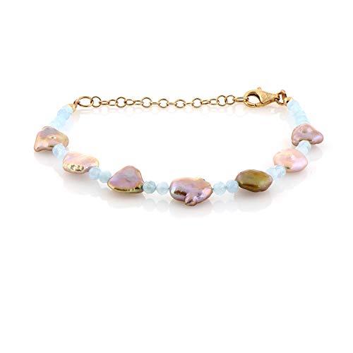 Pulsera de perlas de aguamarina, pulsera de cuentas de pera, pulsera de aguamarina con cuentas de piedras preciosas, pulsera de perlas de plata de ley, joyería para ella