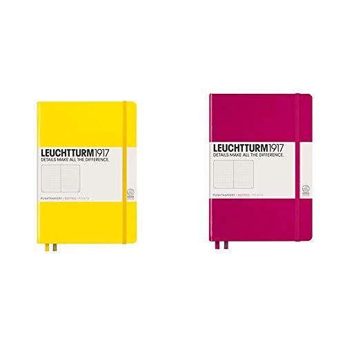 Leuchtturm1917 - Cuaderno (A5, 249 páginas, de puntos, tapa dura, tamaño mediano), color amarillo + Cuaderno (A5, 249 páginas, de puntos, tapa dura, tamaño mediano), color fucsia