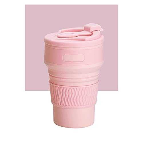 WYDMBH Botella de Agua Plegable Plegables Tazas de café 35 0ML Botellas de líquido Plegable de Silicona Viajes Tazas de té Alimentación de Agua de Calidad Potable Copa (Color : Pink)