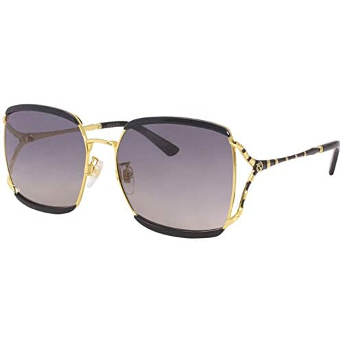 Gucci GG0593SK-001-59 Occhiali, Schwarz GLXe4nzend/Gold, 60.0 Unisex-Adulto