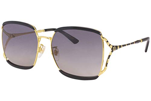 Gucci GG 0593SK 001 Black Gold Metal Oversized Sunglasses Grey Gradient Lens