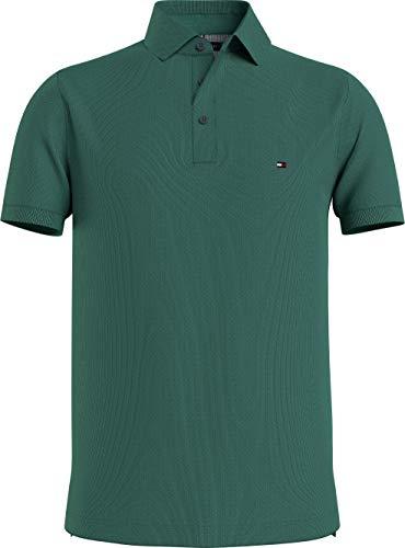 Tommy Hilfiger 1985 Slim Polo, Camisa de polo Hombre, Verde Esmaltado, M