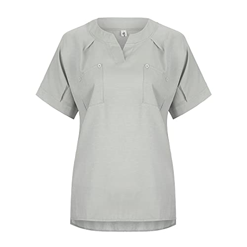 Dasongff Chemise Femmes Coton Lin à Manches Courtes Blouse Casual Travail Quotidien Tops Étudiant Mode Hauts T-Shirt Simple Sauvage Slim Fit Chemisiers à Col Rond Lâche Tunique Eté Plage