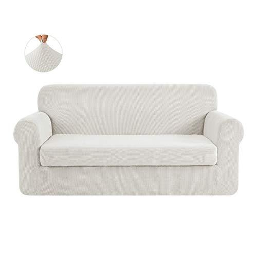 CHUN YI 2-Stück Sofa Überwürfe Jacquard sofabezug 3-sitzer Sofa überzug Elastische Stretch Spandex Couchbezug Sofahusse Sofa Abdeckung (3-Sitzer, Beige)