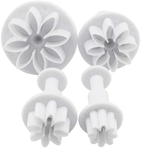FVVMEED 4 Pieces Biscuit Cutters Plunger Cutter Cookie Stamps Fondant Molds White Daisy Flower product image