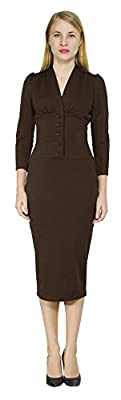Marycrafts Women's Vintage 1940s Pencil Dress Work Office Cocktail