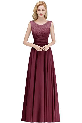 Babyonlinedress® 2019 Damen Hochzeitskeid Brautkleid Ballkleid mit Applique Bodenlang Weinrot 46