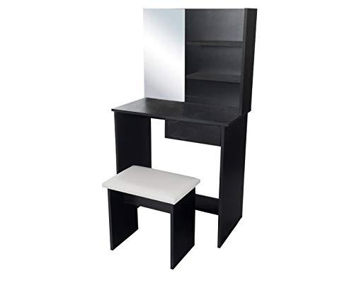 Kaptafel Jaspero Zwart met zitbankje en spiegel