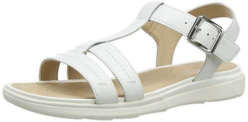 Geox D Sandal Hiver A, Sandalias con Tira Vertical Mujer, Blanco (White C1000), 37 EU