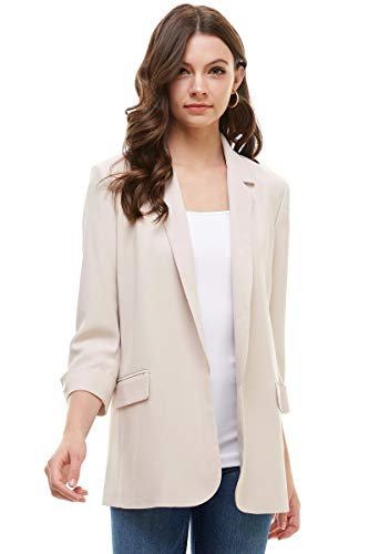 Alexander + David Women's Loose Blazer Jacket Suit, Oversized and Loose Fit Work Blazer with Double Buttons (Ivory, Medium)
