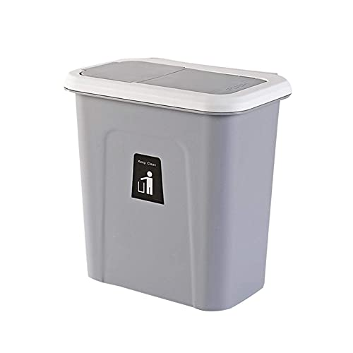 qiyifang Hängender Abfalleimer, ür-Abfalleimer, Schrank-Abfalleimer, Küchen-Mülleimer, Abfallsammler Multi-Kitchenbox, Push-top Trash Can Hanging, Dunkelgrau