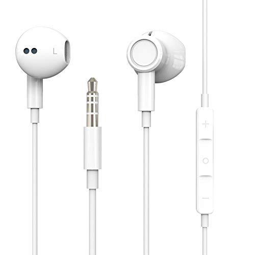Hi-Res Extra Bass Earbuds Noise Isolating In-Ear Headphones Wired Earbuds with Microphone for iPhone, iPod, iPad, MP3, HUAWEI, Samsung, Lightweight Earphones with Volume Control 3.5mm Jack Headphones