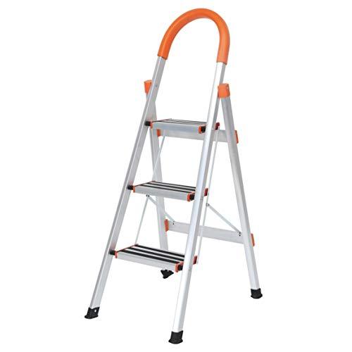 sogesfurniture Aluminium Trittleiter 3 Stufen klappbar, Mehrzweckleiter Stehleiter Klapptritt Haushaltsleiter, einfach zu verstauen, KS-JF-003-BH
