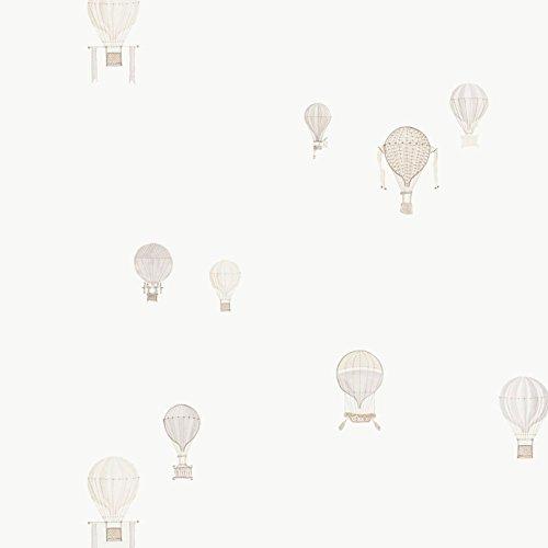 Casadeco 18991116 Papel pintado infantil con globos aerostáticos en color hueso y beige