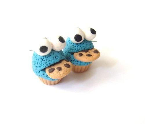 Monster mit Keks Törtchen Ohrringe handmade Ohrhänger